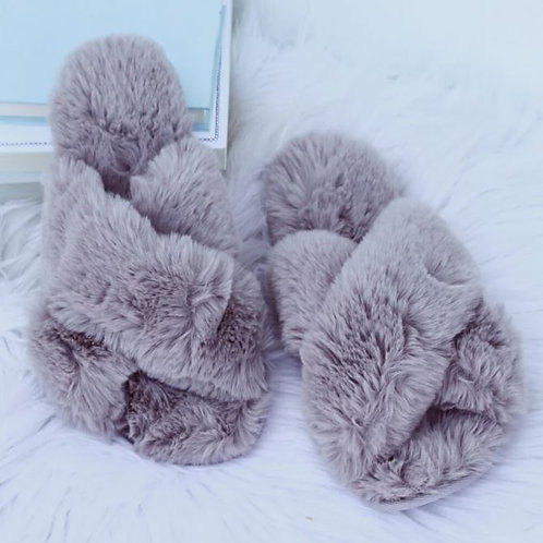 Fuzzy Crossband Slippers