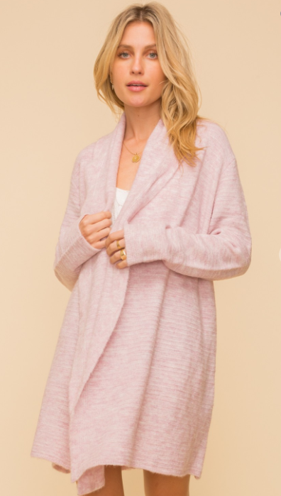 Ribbed Open Cardigan Sweater