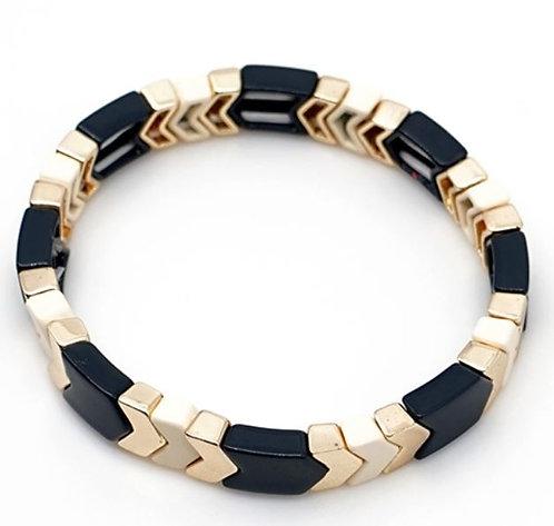 Navy, Ivory & Gold Arrow Tile Stretch Bracelet