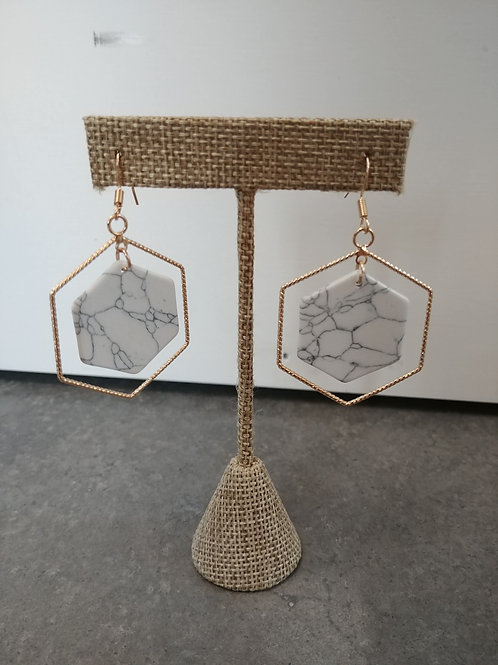 Double Hexagon Earrings