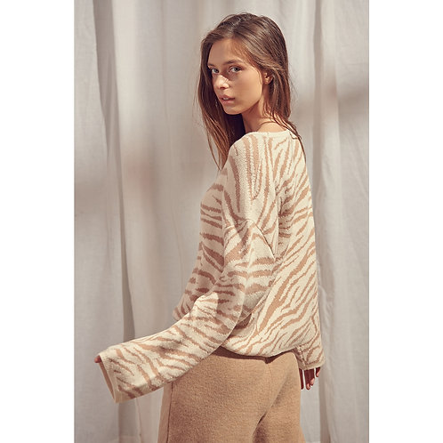 Taupe Sweater with Bell Sleeves