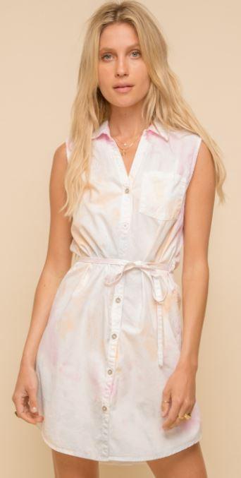 Button Utility Tie Dye Dress