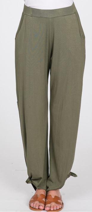 Side Split Side Tied Hem Pants