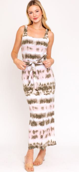 Launa Sleeveless Tie Dye Midi Dress