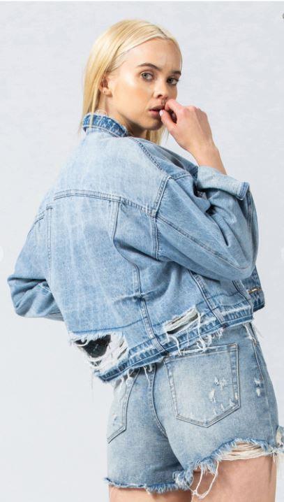 Distressed Let Out Hem Oversized Crop Jacket