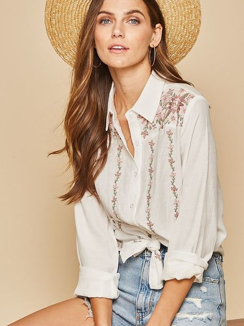 Embroidered Boho Button Up
