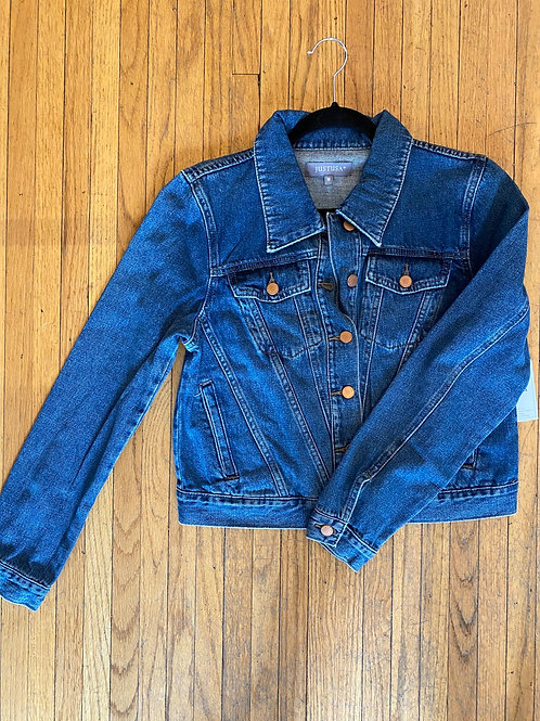 Denim Jacket with Diagonal Seaming