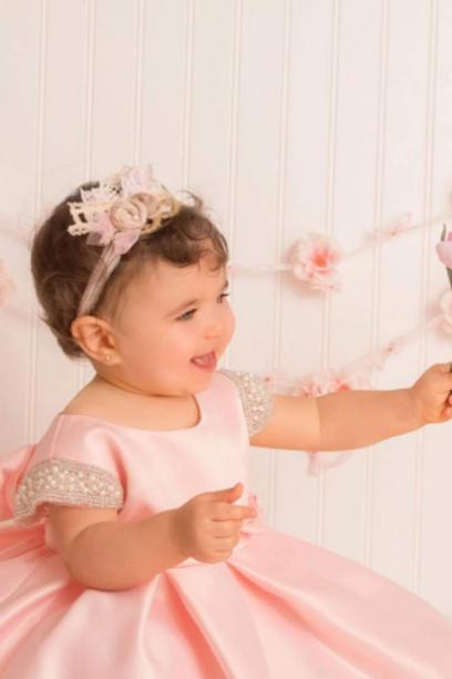 Bridal Satin Pink Baby Dress