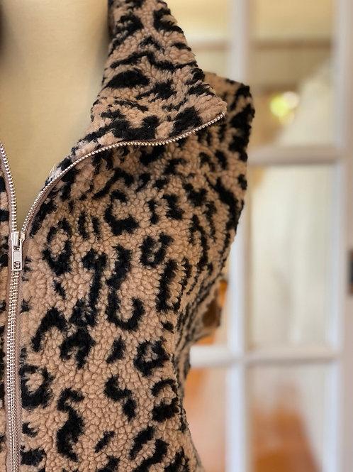Cheetah Sherpa Vest w/Pockets