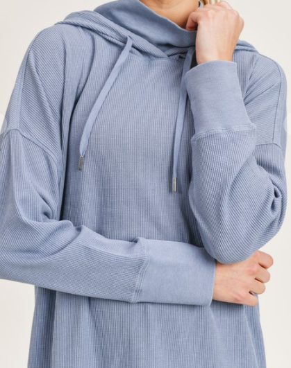 Plus Waffled Hoodie Top with High Neck