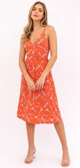 Faux Orange Wrap Dress