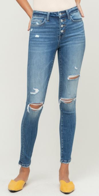 Button Fly Distressed Skinny Jean