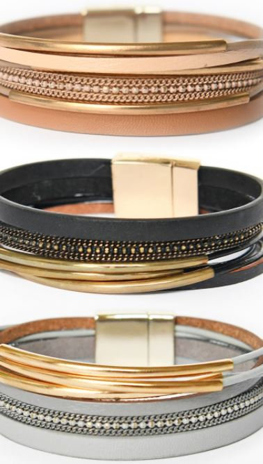 Leather Wrap Bracelet with Gold Bars