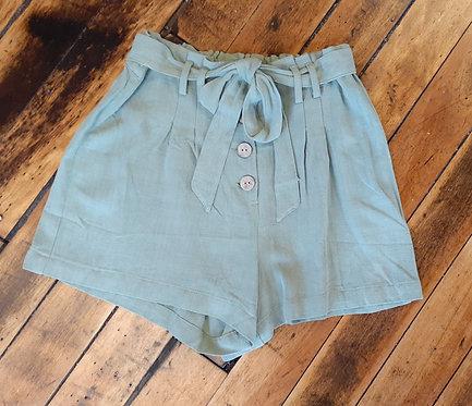 Sage Olive Tie Waist Shorts