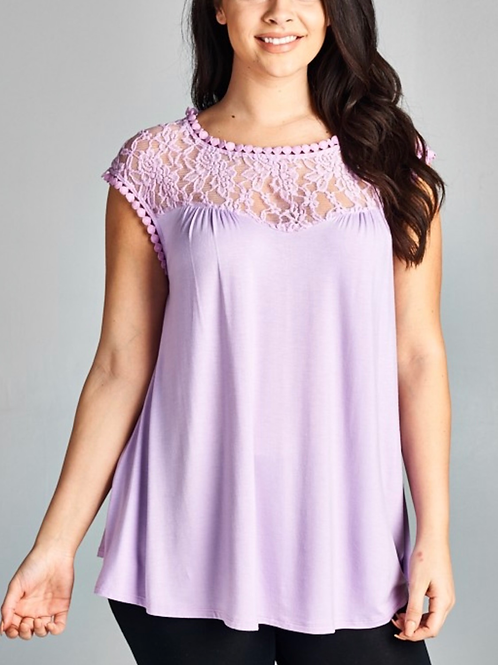 Lace Trim Relaxed Top