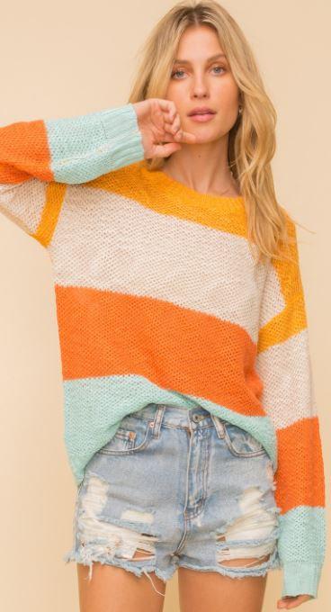 Multi Stripe Light Sweater Top