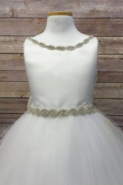 Beaded Neck & Waist Flowergirl Dress