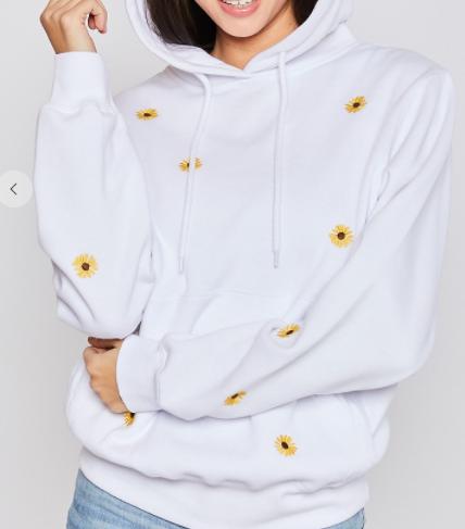 Fleece Embroidery Sunflower Hoodie