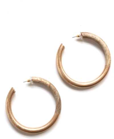 Classic Gold Dipped Wood Hoops