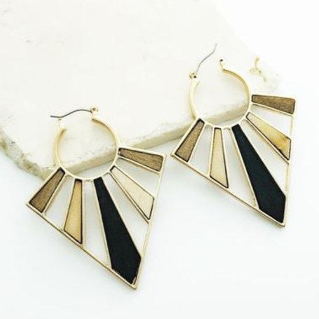Wooden Triangle Hoop Earrings