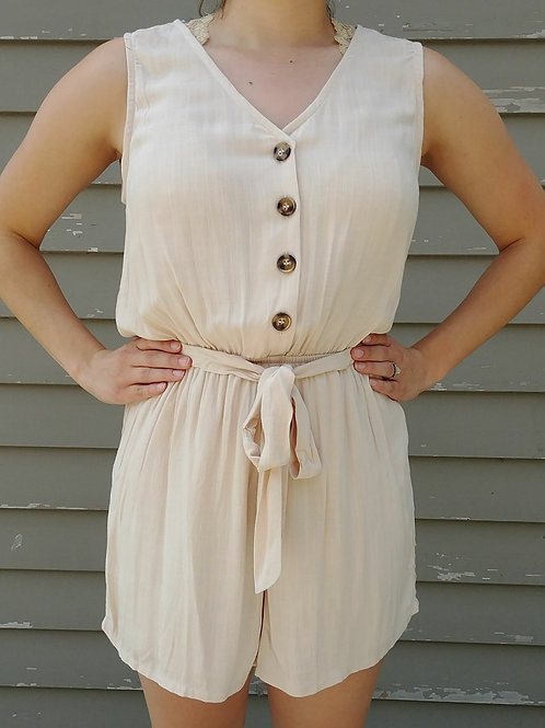 Tie Waist Romper with Buttons