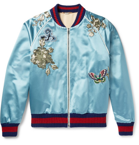 Bomber Jacket, Gucci, Blue Silk