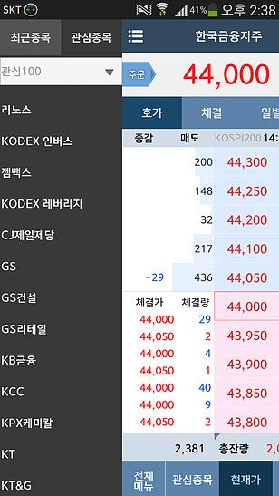 한국투자증권 관심종목