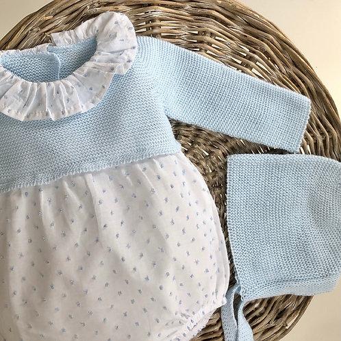 Blue Knit Plumeti Bubble