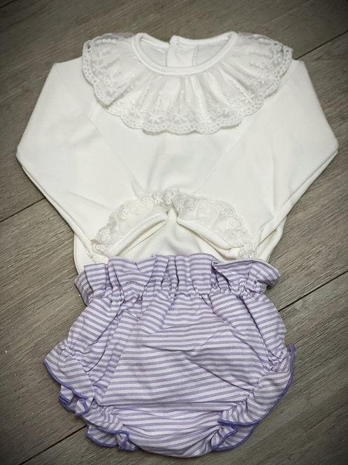 Onesie & Striped Lavender Diaper Cover