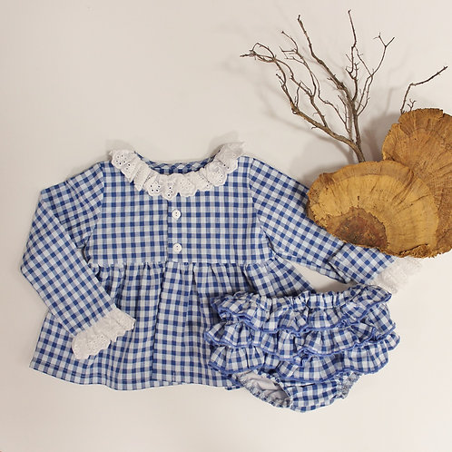 Blue Gingham Dress with Diaper Cover Set