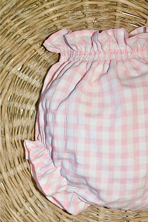 Pink Gingham Diaper Cover