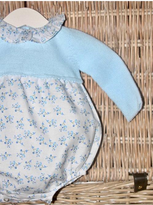 Blue Knit Flower Print Bubble