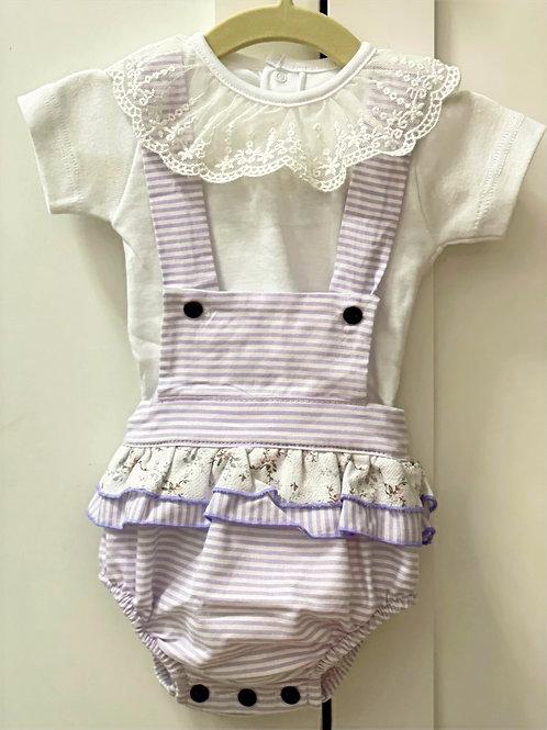 Lavender Stripe Ranita & Onesie Set