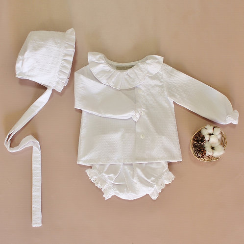 White Gingham Top and Diaper Cover Set