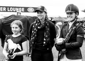 Meadow with Sam Lissington presenting Lady Rider of the Year winner Mikayla with her RB Jewellers bit bracelet