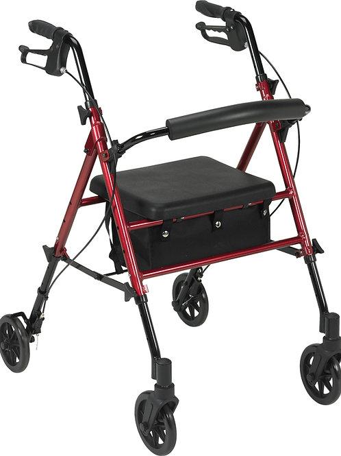 "4 Wheeled Adjustable Height Rollator, 6"" Castors"