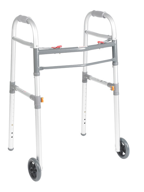 "Universal Folding Walker, Two Button With 5"" Wheels"