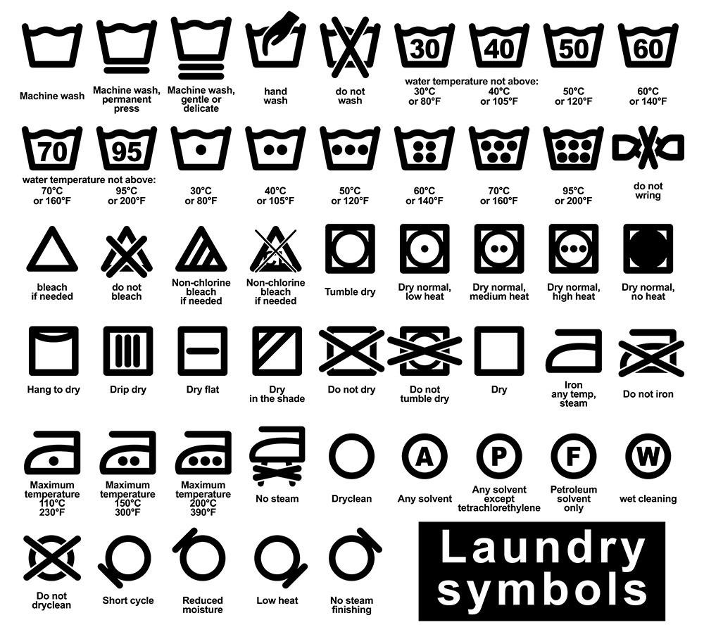 Wash & care laundry symbols