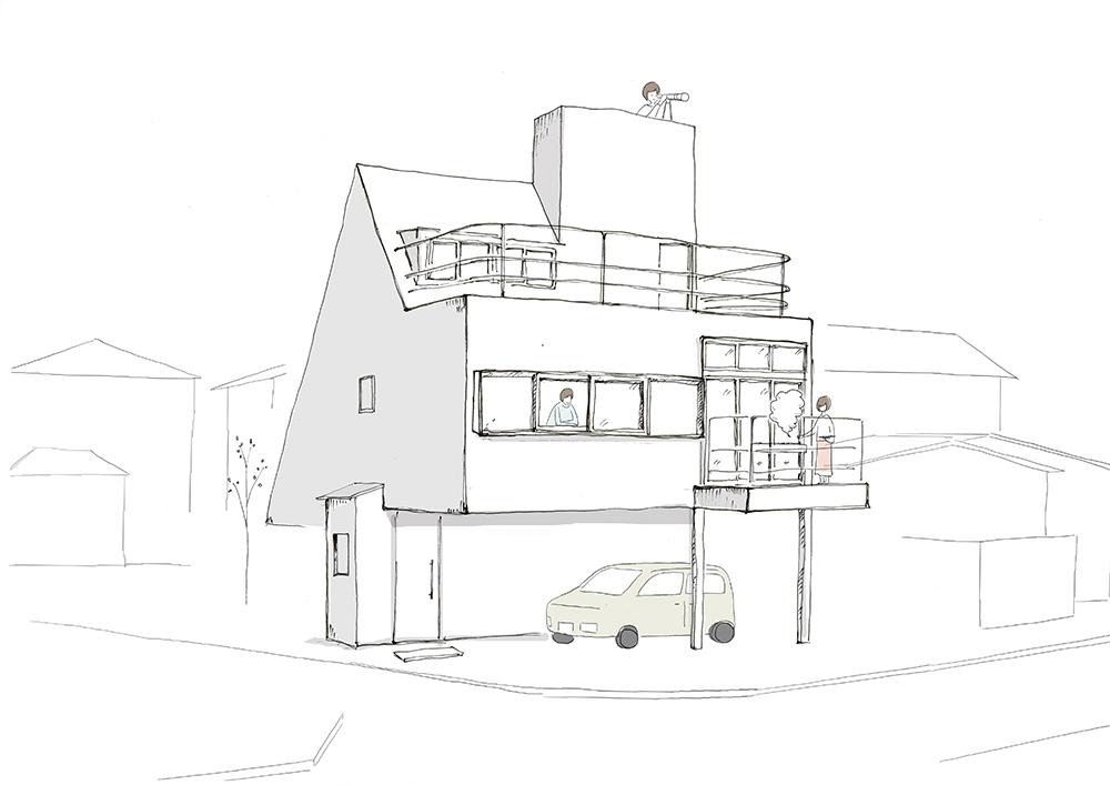 外観_海の家、庭の家、太陽の塔
