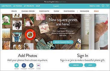 Snapfish website snapshot