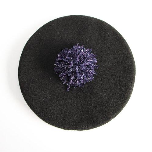 Béret noir à pompom velours violet irisé