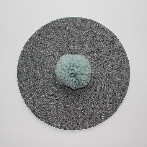 Béret mi saison - gris chiné et bleu