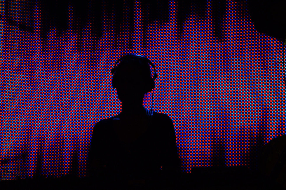 DJ with Halftone Background