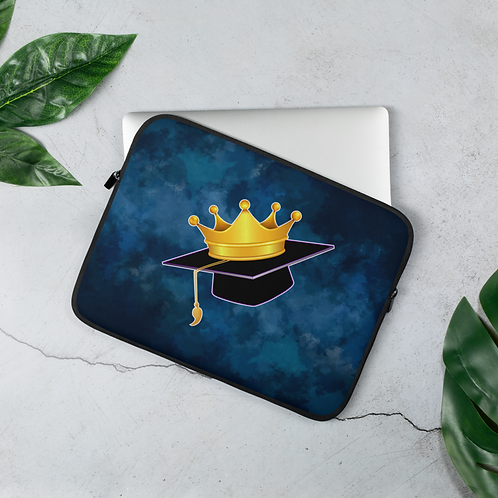 Dark Blue Watercolor Laptop Sleeve