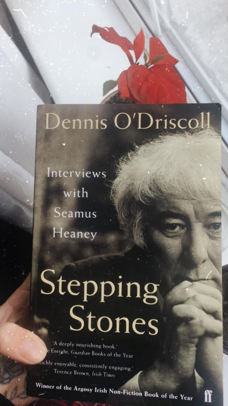 An image of me holding my copy of Dennis O'Driscoll's 'Stepping Stones: Interviews with Seamus Heaney'.