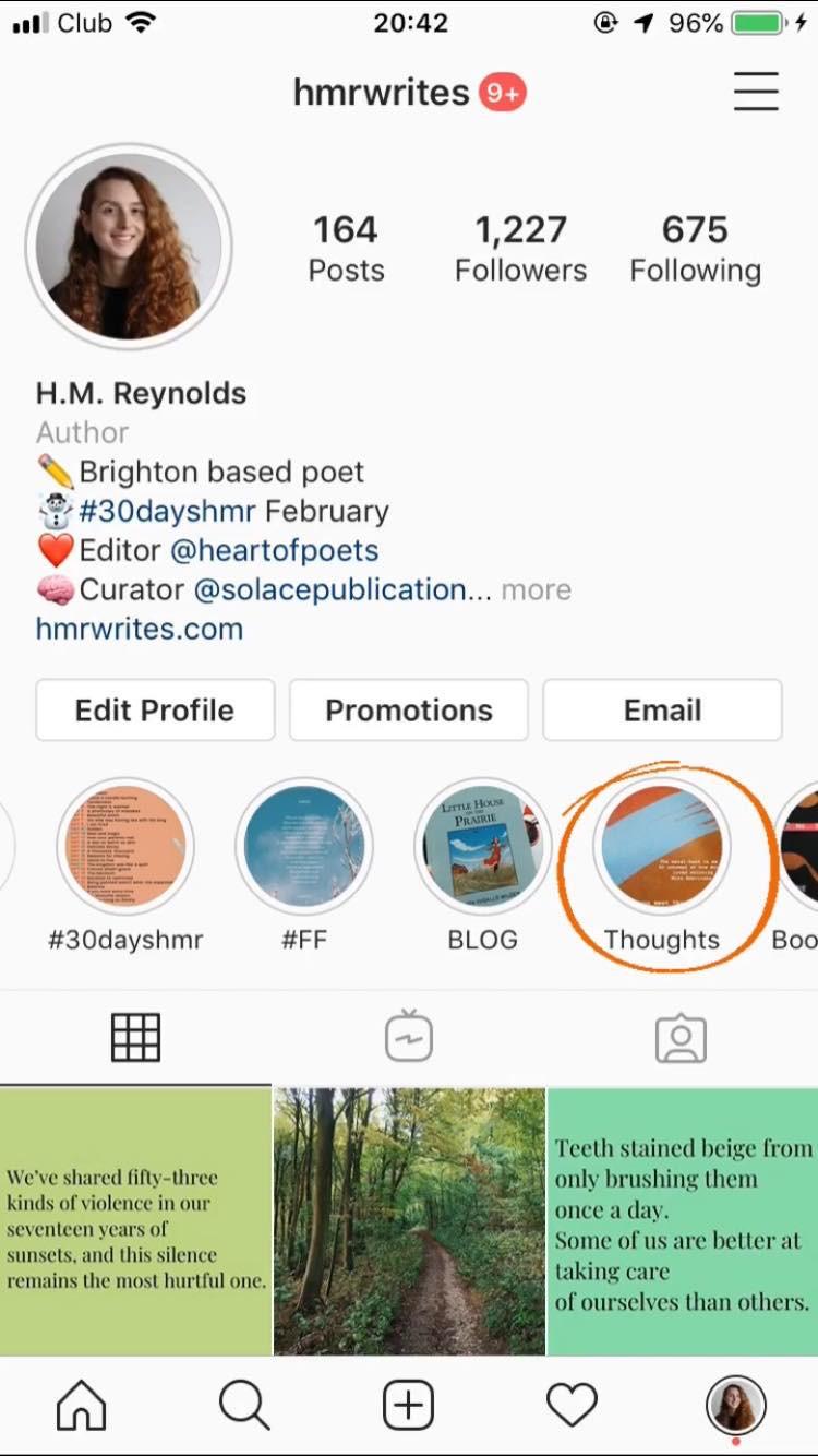Screenshot from @hmrwrites Instagram