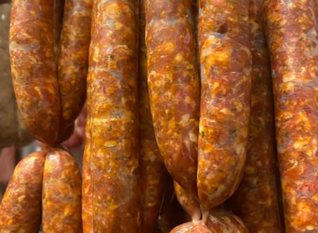 Roasted Merguez sausages with flatbread and yogurt (serves 2)