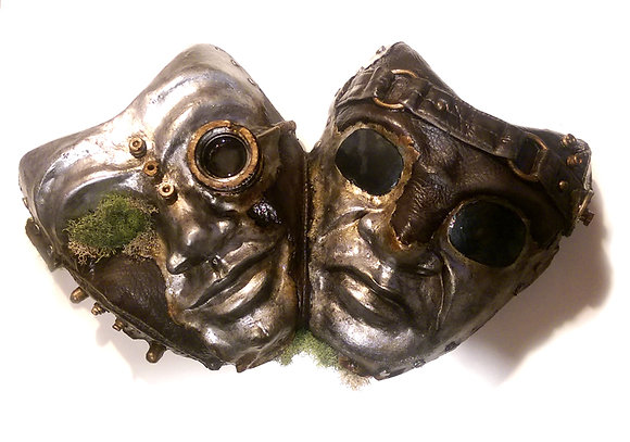 Steampunk 2 Comedy Tragedy masks wall-hanging