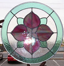 Pink Flower stained glass by ABQ Art Glass