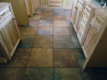 Porcelain tile kitchen floor.